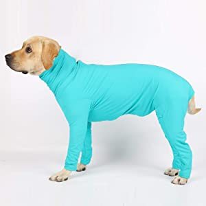 Glorisun Original Dog Onesie, Long-Sleeved 4 Legs Dog Clothing for Home, Car, Travel, Anxiety Calming Shirt, Surgery Recovery Body Jumpsuit