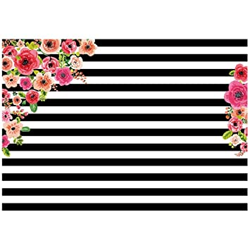 Amazon sodialr 7x5ft photography backdrops black and white sodialr 7x5ft photography backdrops black and white stripe watercolor pink flower banner birthday mightylinksfo