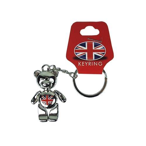 Porte-clés en métal Design ourson et Union Jack