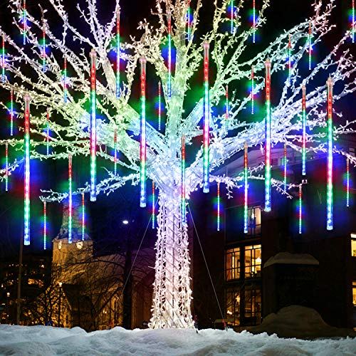 VSATEN Meteor Shower Lights Falling Rain Lights 30cm 8 Tube 144 LEDs Falling Rain Drop Icicle String Lights for Christmas Tree Halloween Decoration Holiday Party Wedding Decorations (Multicolor)