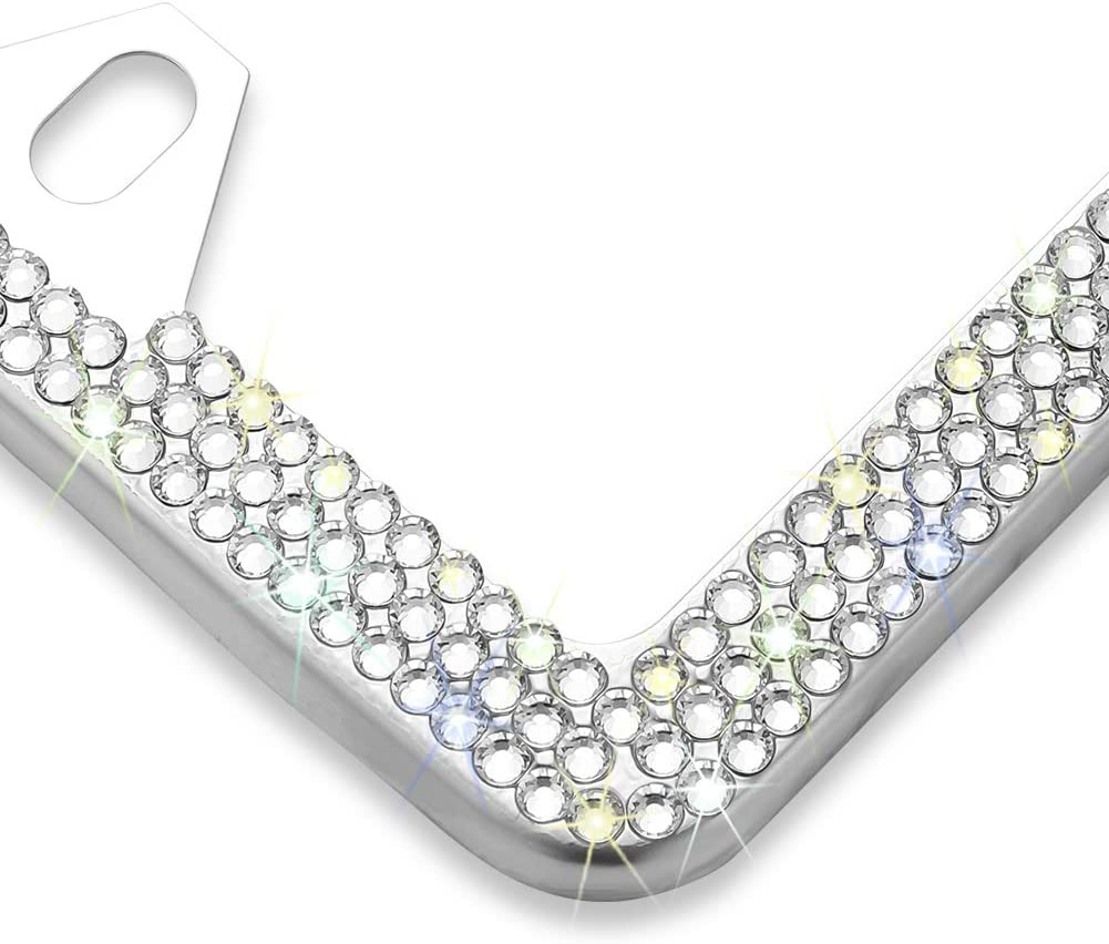 Otostar Bling Crystal Car License Plate Frame Red 3 Rows Handmade Finest 14 Facets SS20 Diamond Stainless Steel 4 Holes License Plate Holder Cover with Gift Box