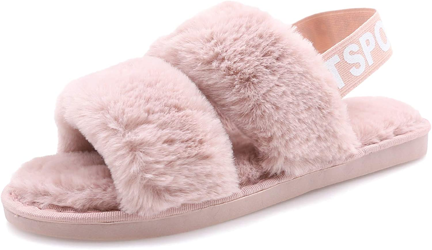 Women's House Fuzzy Slipper Fluffy Sandals Slides Leopard Print Soft Warm Comfy Cozy Bedroom Open Toe House Indoor Outdoor Slippers Sandals with Elastic Strap (Light Pink, Numeric_5)