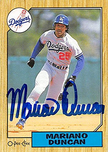 Autograph 126167 Los Angeles Dodgers 1987 O-Pee-Chee No. 199 Mariano Duncan Autographed Baseball Card ()