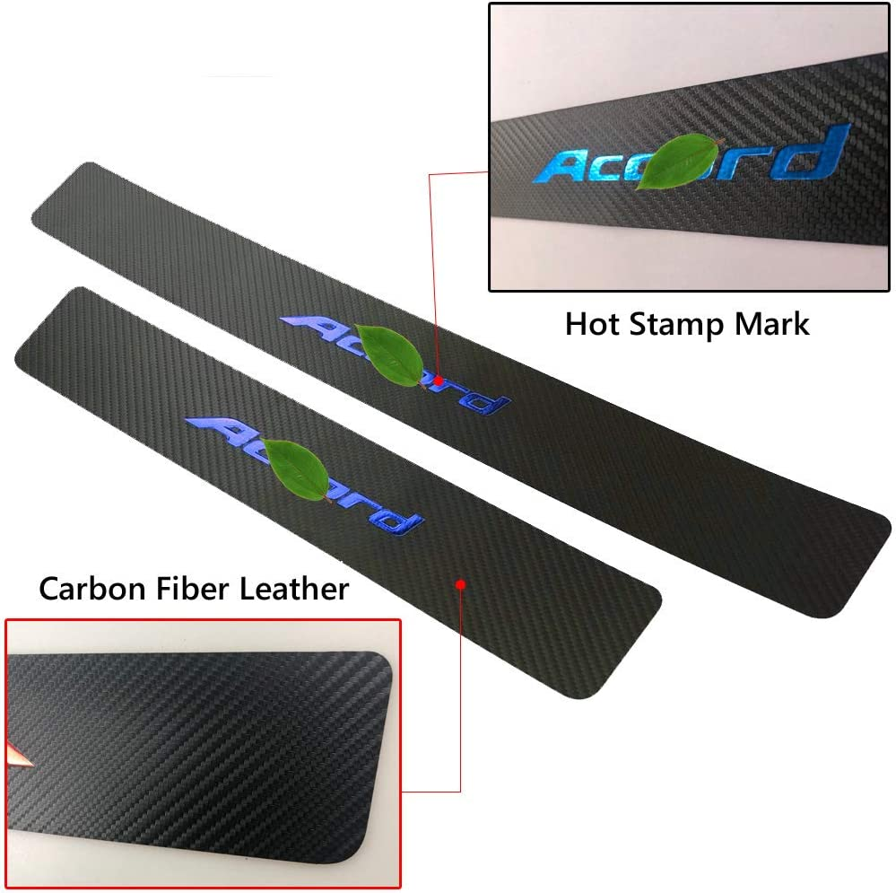 BLUE BOYUER 4PCS Carbon Fibre Leather Car Door Sill Decoration Scuff Plate Guard Sills Protector Trim,Welcome Pedal Protect For Honda Accord 2005-2020