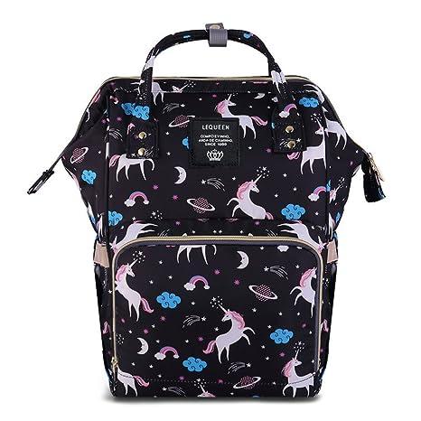 Mochilas para Pañales Mamá Tela Impermeable Bolsa de Pañales - Unicornio negro
