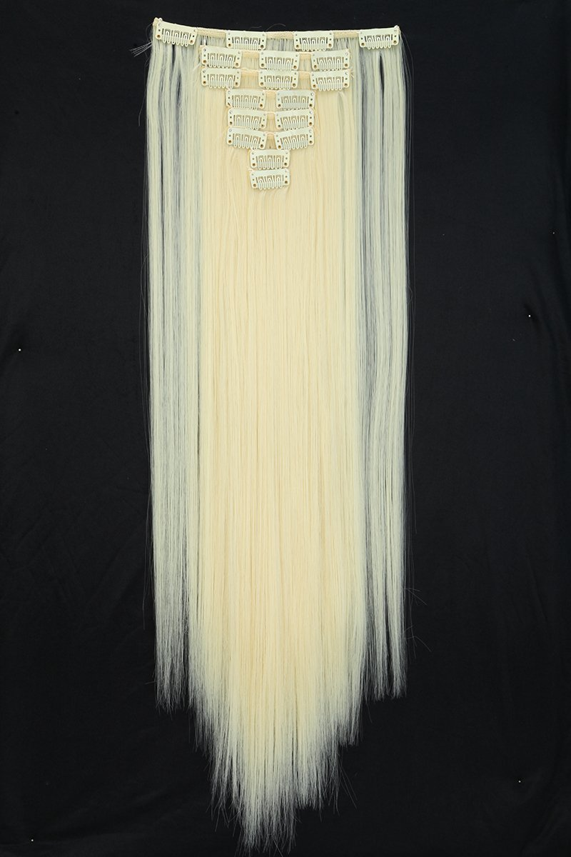 Synthetic Hair Extensions Clip on Japanese Kanekalon Fiber Hairpieces Full Head Thick Long Straight Soft Silky 8pcs 18clips for Women Girls Lady Fashion and Beauty 26'' / 26 inch (88# Pale Blonde)