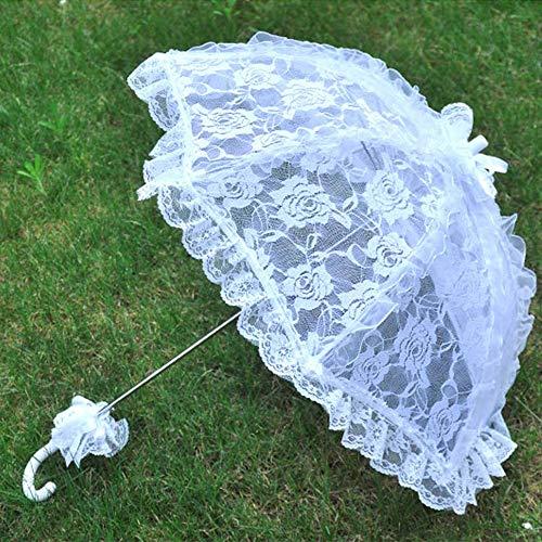 424742ba99b8 Lace Floral Parasol Umbrella Decoration Wedding Bride Handmade Photography  Prop Umbrella White