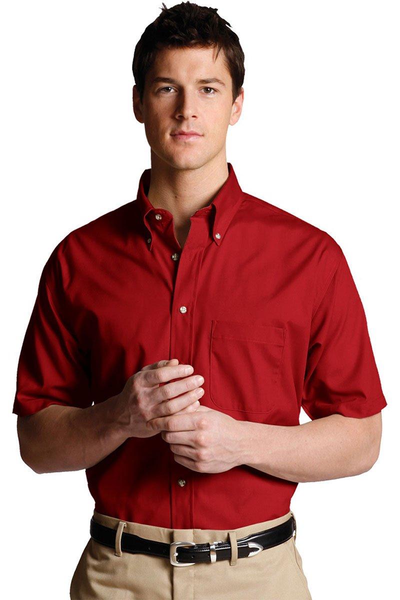 Edwards Men's Easy Care Short Sleeve Poplin Shirt, BRICK, 3XLarge