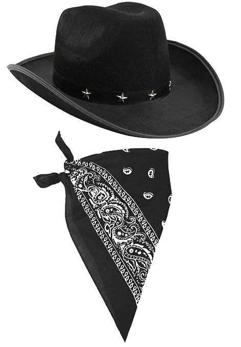 Cowboy Costume Set di accessori costume nero cappello da cowboy con Star  Studded fascia colorati e d20ee8a5bf85