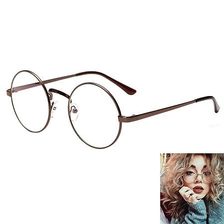 6ecd2e3301 Women Retro Round Glasses Clear lens Metal Frame Vintage Eyeglasses Geek  Sunglass Fancy Dress Brown  Amazon.co.uk  Kitchen   Home