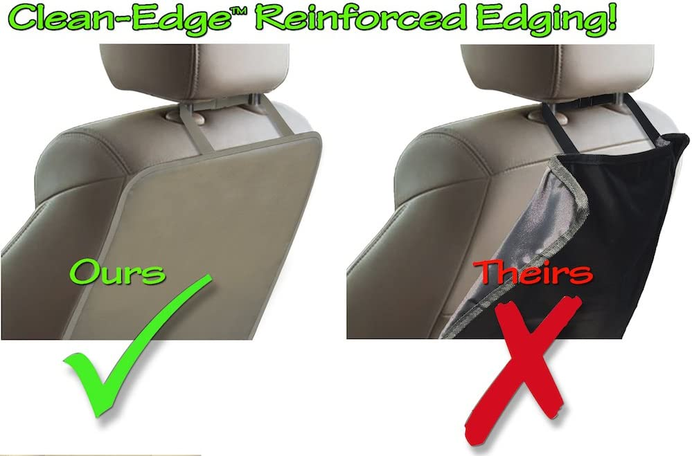 1 Mat Black Seat Back Protector and Seat Cover with Invisible Strap and Stiff Edging Tike Smart Luxury Clean-Edge Kick Mat