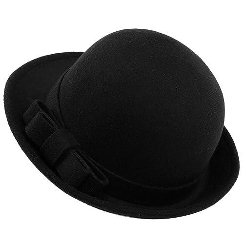 Butterme Cappello Bowler Rotolo Brim Dura Cloche della signora con elegante lana Bowknot inverno Fel...