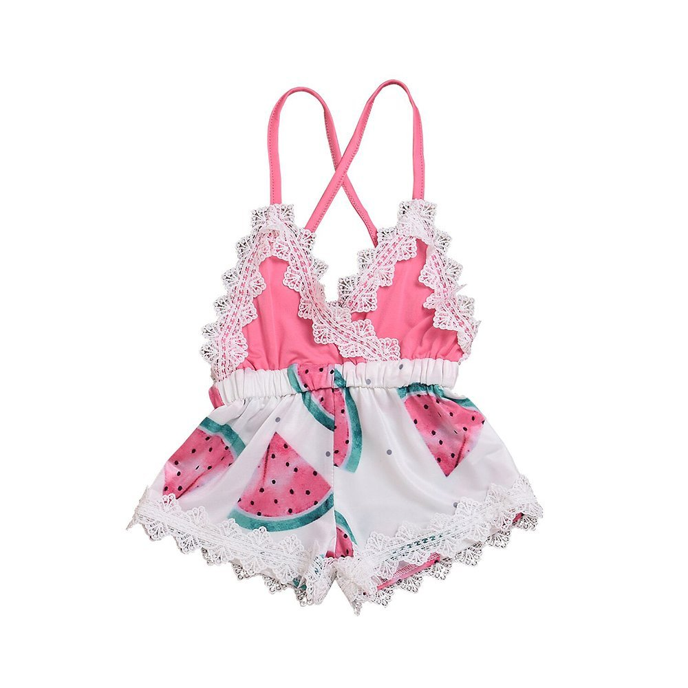 Genenic Baby Girls Backless Strap Romper Watermelon Printed Lace Jumpsuit Infant Summer Outfits Clothes(0-3M)
