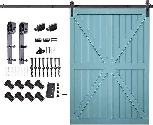 5FT-16FT Sliding Barn Door Hardware Track Kit Country U-Shape Roller Hanger Set