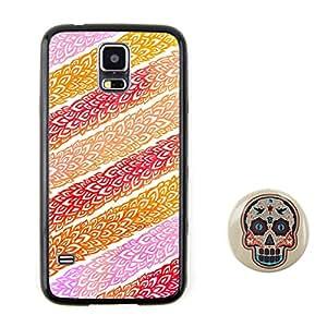 BuddiCase patrón 22 Diseño en relieve Planta patrón denso estilo TPU + Plástico duro for Samsung Galaxy S5 with diseño del cráneo del caramelo del estilo fresco del color 2.3'' boton pulgadas insignia