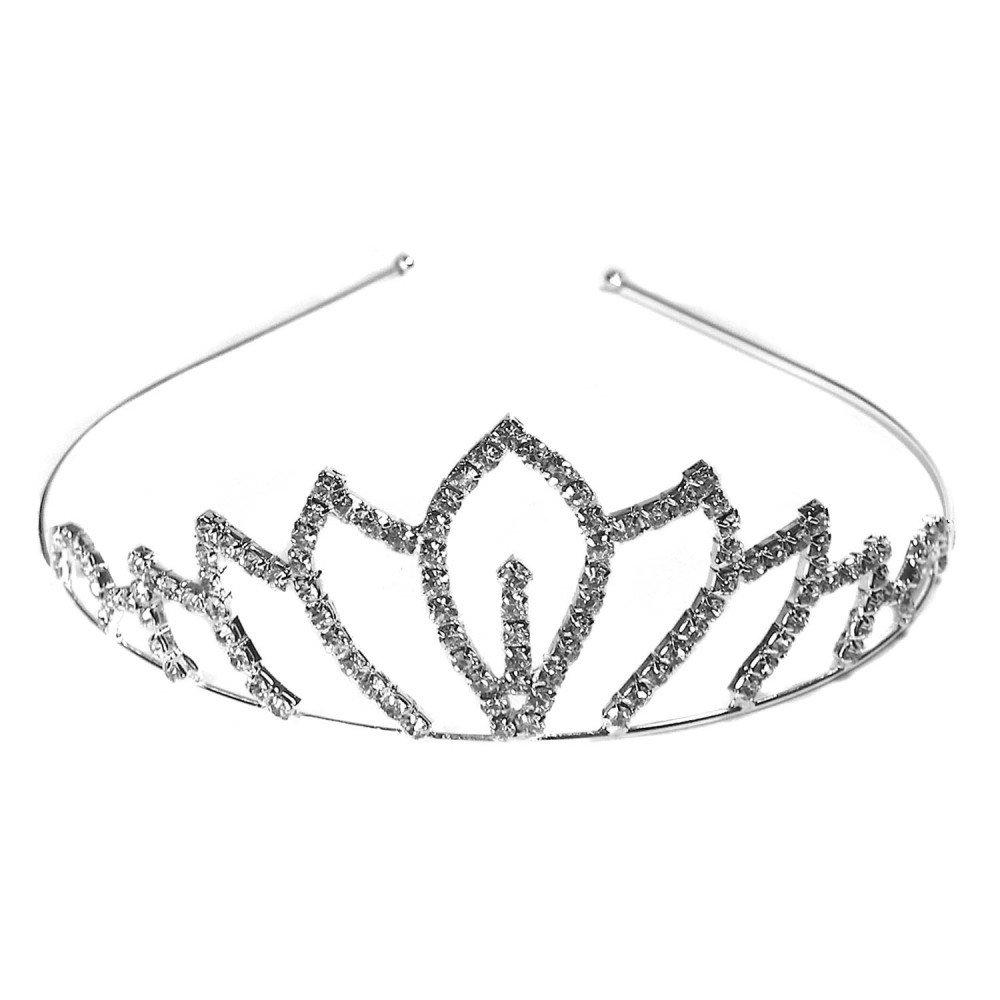 1 Diadem Tiara Haarreifen Brautschmuck Hochzeit Prinzessin Haarschmuck Strasssteine Glitzer Damen Krone Silbern Bronze Farbe:Modell 1 tumundo