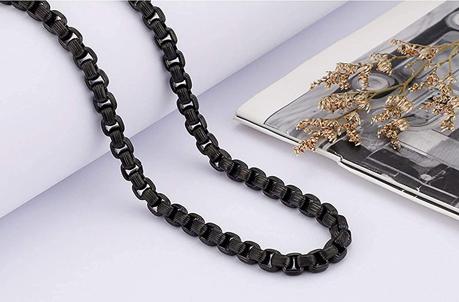 LOPEZ KENT Stainless Steel Necklace for Men Belcher Chain Necklace Black//Silver//Gold