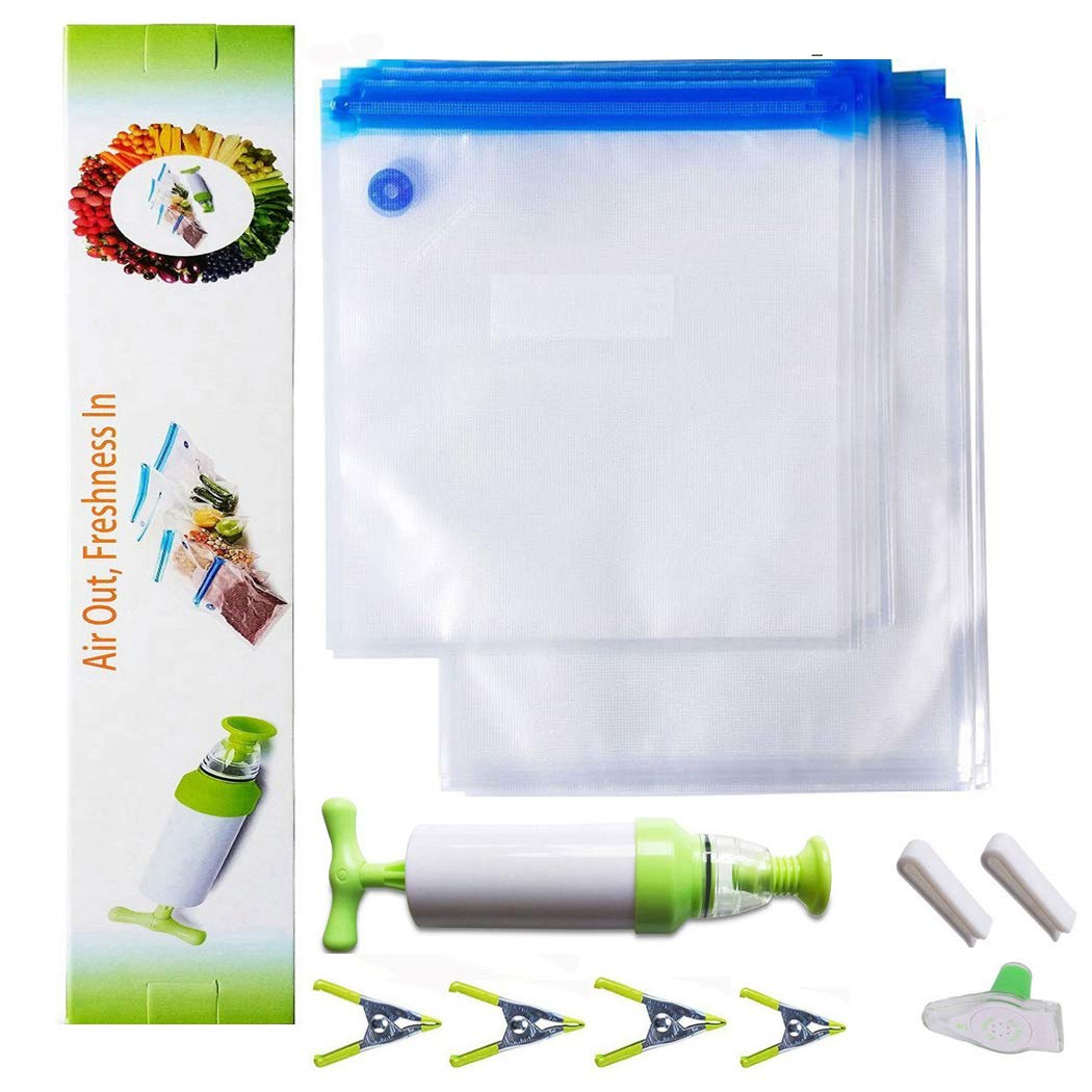 LSIKA-Z Sous Vide Sacchetti, 1 Pompa a mano con 20 Sacchetti Riutilizzabili, BPA Free Sottovuoto Storage Bag – Sistema sottovuoto Keep food Saver più Storage (20 Sacchetti)