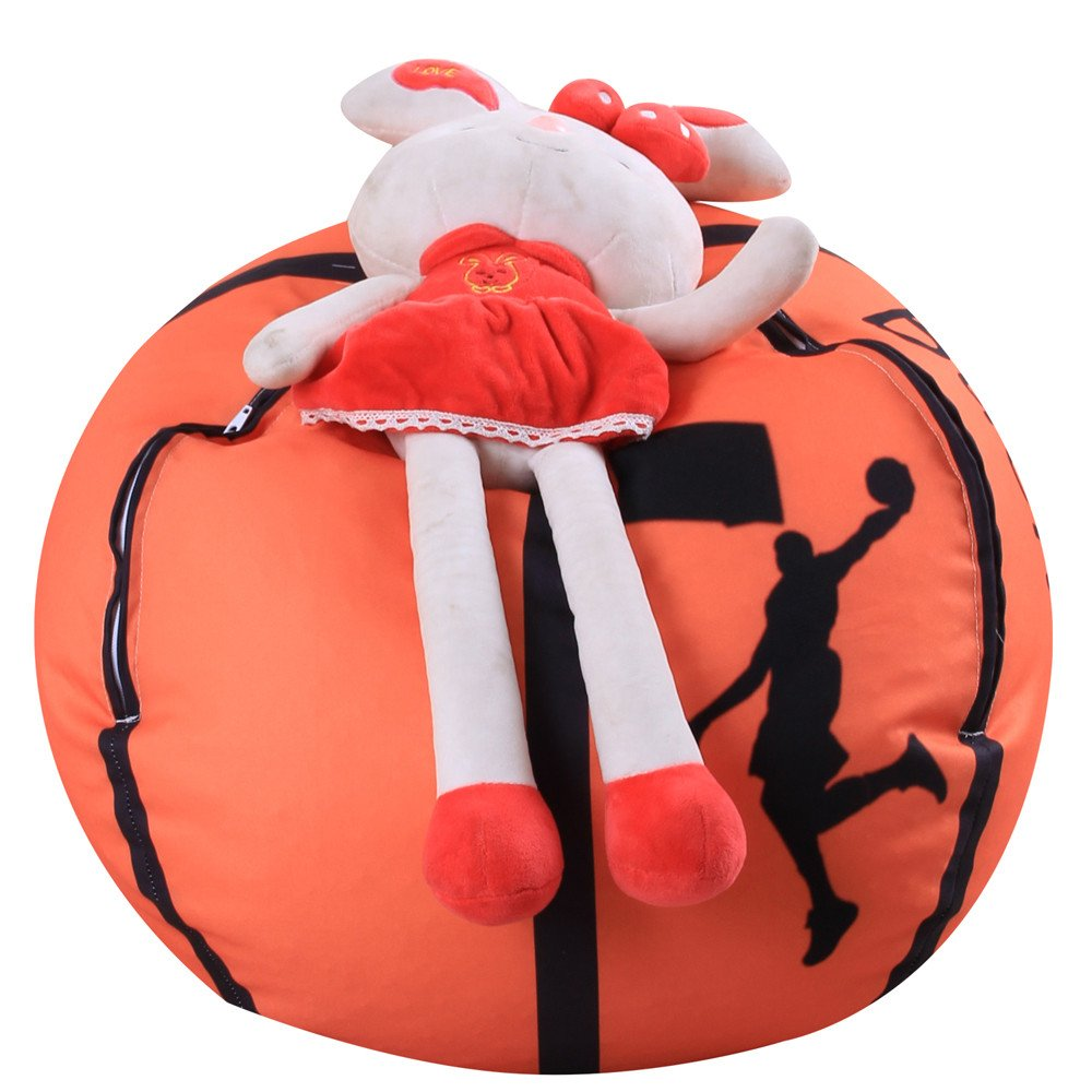 kingfansion Children's Storage Bag Plush Animal Plush Basketball Style Toy Storage Bean Bag Soft Bag Fabric Chair