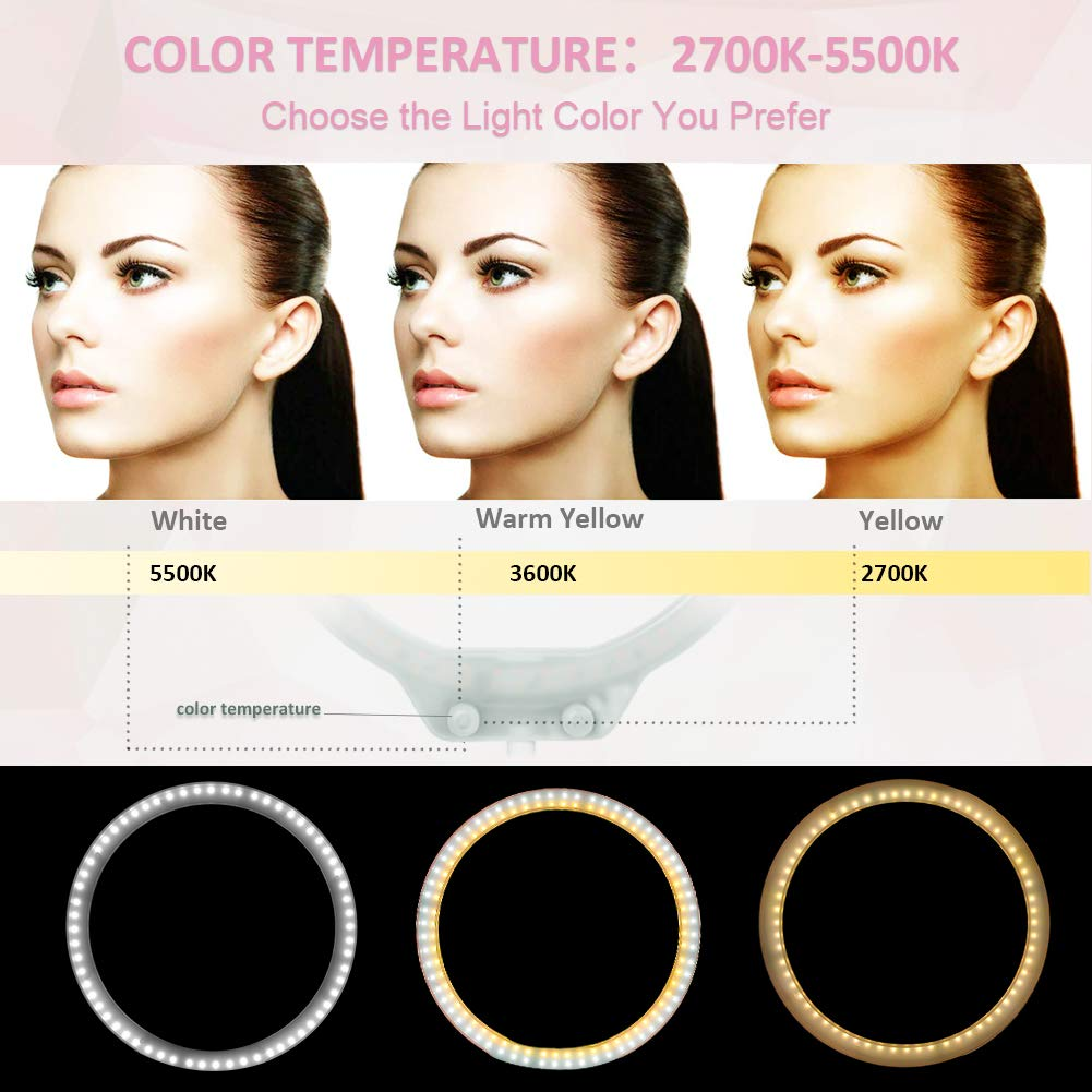 ZOMEi 10.5'' Tabletop Makeup Ring Light for YouTube Video Tutorial, Selfie, Portrait and Live Streaming White by ZoMei (Image #2)