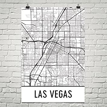 Modern Map Art Cartel de las Vegas, Las Vegas, arte de la ...