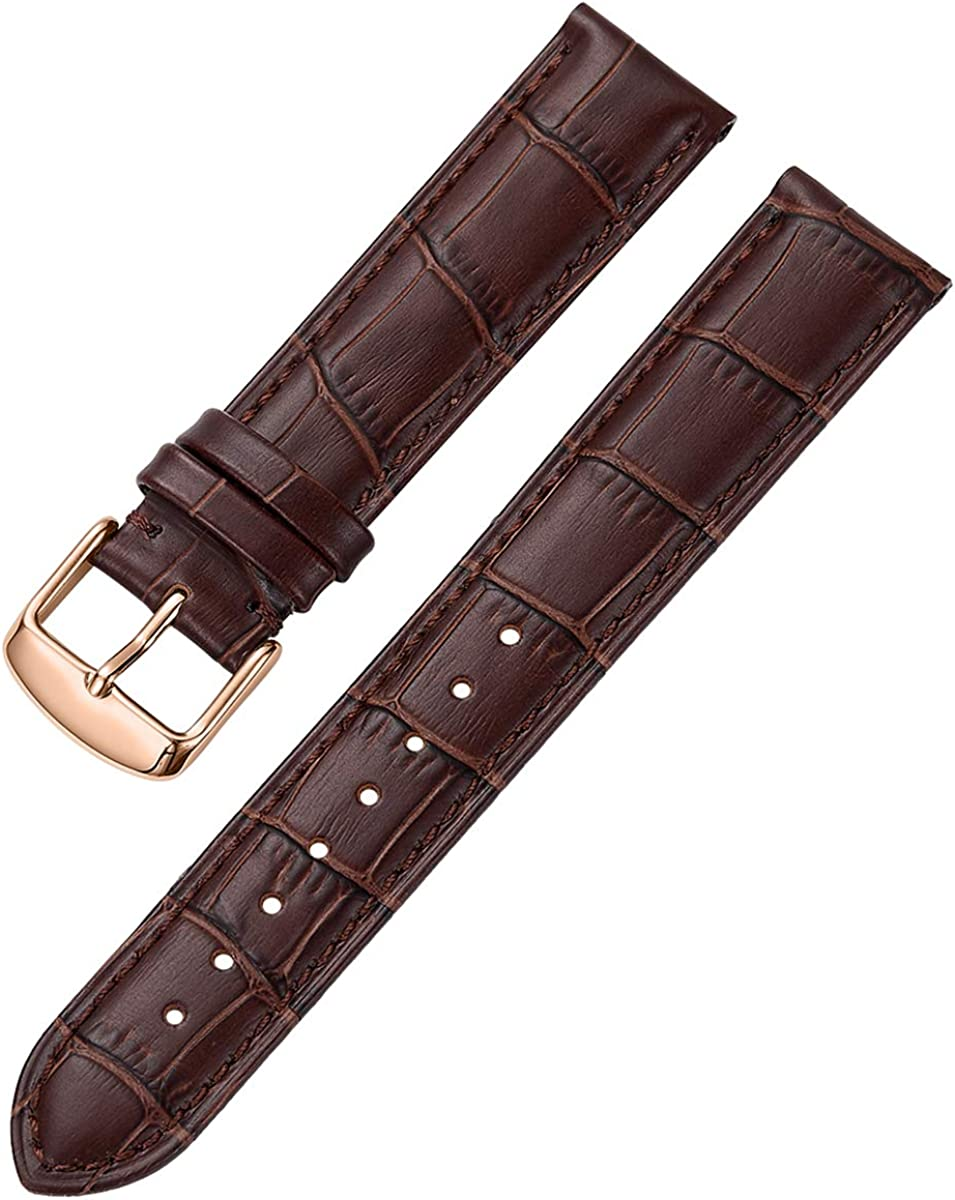 iStrap Leather Watch Band Alligator Grain Calfskin Replacement Strap Stainless Steel Buckle Bracelet for Men Women-18mm 19mm 20mm 21mm 22mm 24mm-Black Brown