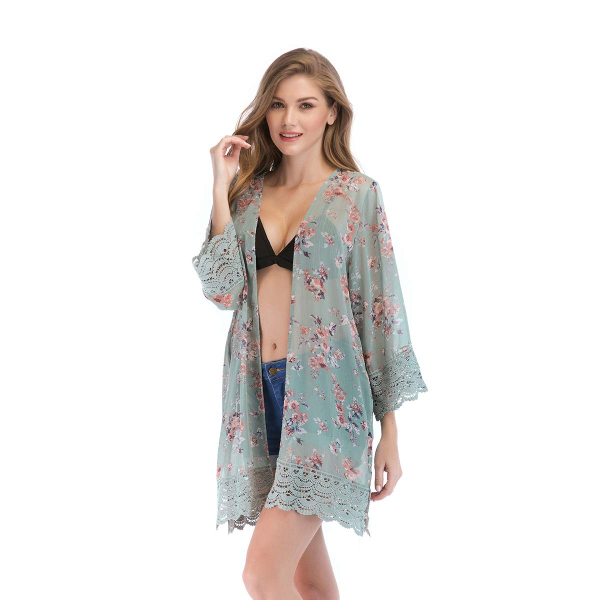 076233c3f98 FEATURES - Boho Floral Print   Lace Patchwork   Open Front Drape Cardigan    3 4 Sleeve   Split Side Design   Loose Kimono Cardigan WAYS TO WEAR -  Gorgeous ...