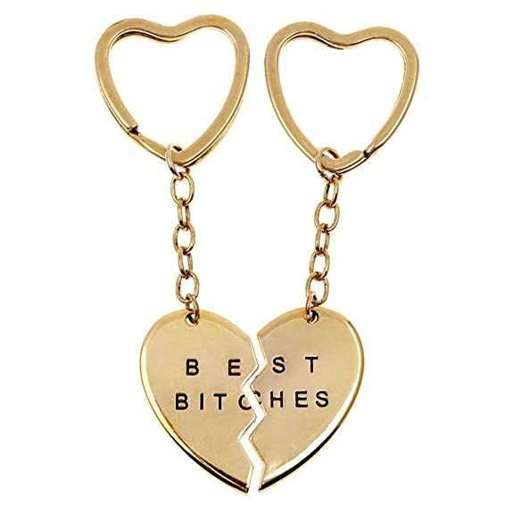 Best Bitches Keychain Best Friends BFF Forever Engraved Matching Heart Keyring