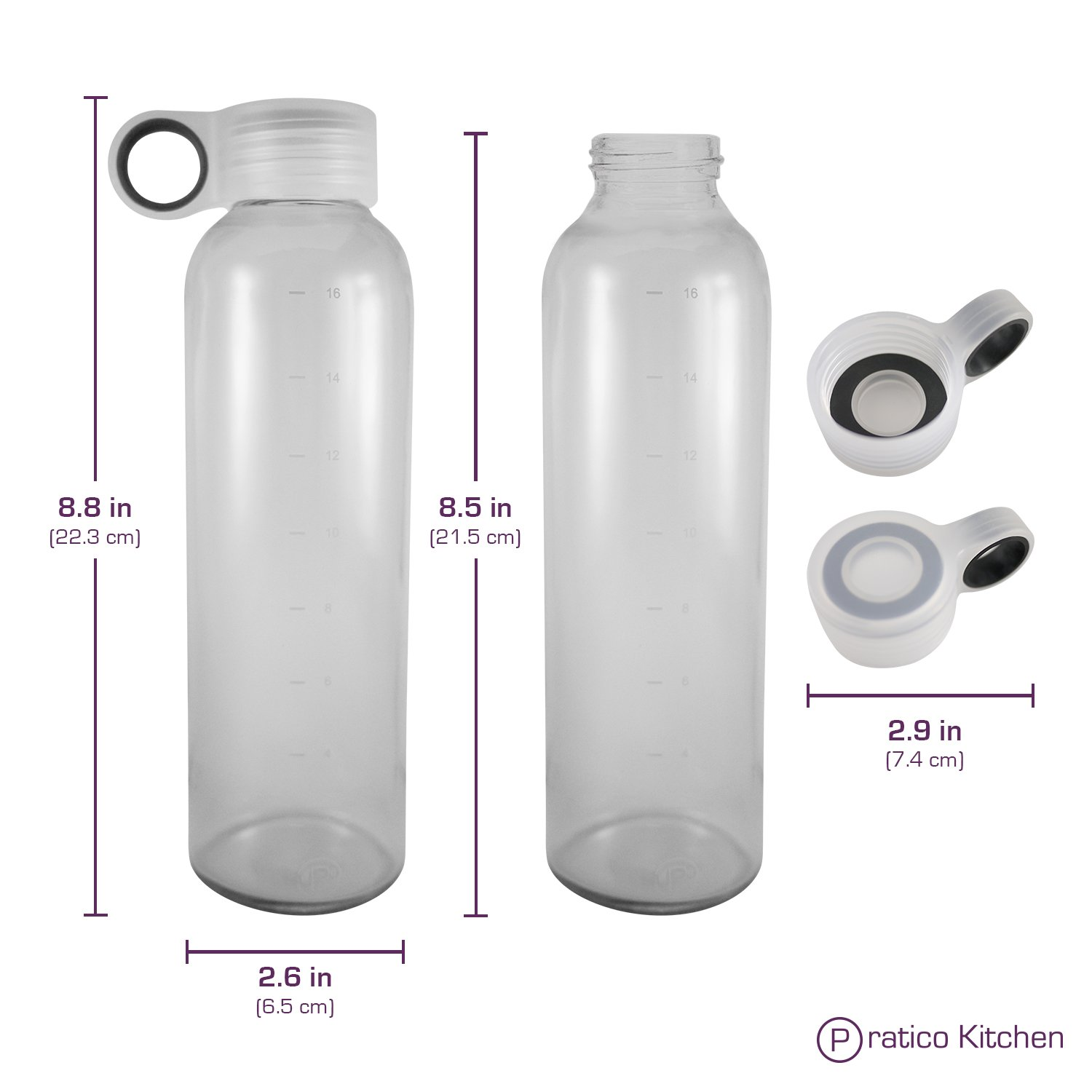 Pratico Kitchen 18oz Leak-Proof Glass Bottles, Juicing Containers, Water/Beverage Bottles - 6-Pack with Multi-Color Loop Caps by Pratico Kitchen (Image #3)