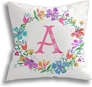 Eliquxiang Monogram Throw Pillow Cover for Women/Girls, 18X18 inch Girly Floral Pillow Case Cushion Cover for Home Sofa Living Room Car Decor - Floral Wreath Monogram A