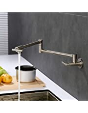 Homili Foldable Wall-Mount Retractable Pot Filler Kitchen Faucet Cold Only with Dual Swing Joints in Brushed Nickel