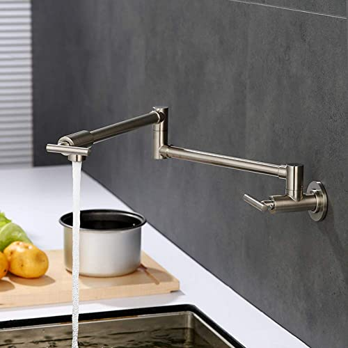 Homili Foldable Wall-Mount Retractable Pot Filler Kitchen Faucet Cold Only with Dual Swing Joints Brushed nickel