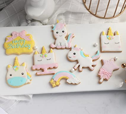 12 moldes con forma de unicornio para galletas de fondant Anokay, para hornear, para decoración de pasteles, para cumpleaños