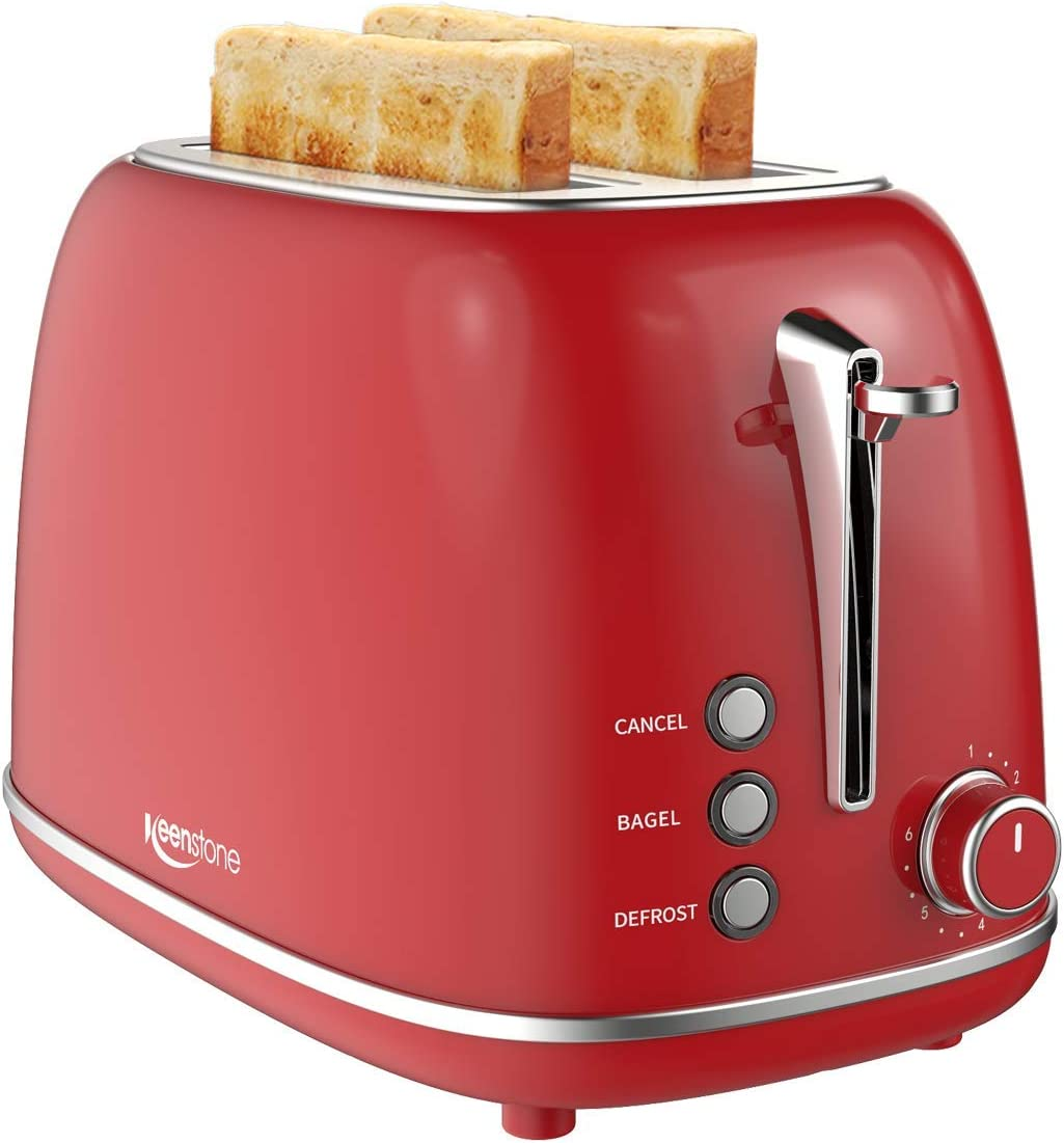 Keenstone Retro 2 Slice Toaster Stainless Steel Toaster with Bagel, Cancel, Defrost Fuction and Extra Wide Slots Toasters, 6 Shade Settings,Removable Crumb Tray, Red (Renewed)