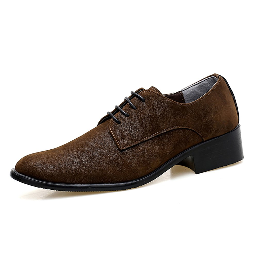 High Fashion Oxford Business Formal Wedding Suede Leather Shoe Pointed Toe Microfiber Rubber Sole Brogue Shoes Leisure Comfortable Lace-up Low Heel Adult (9, Brown)