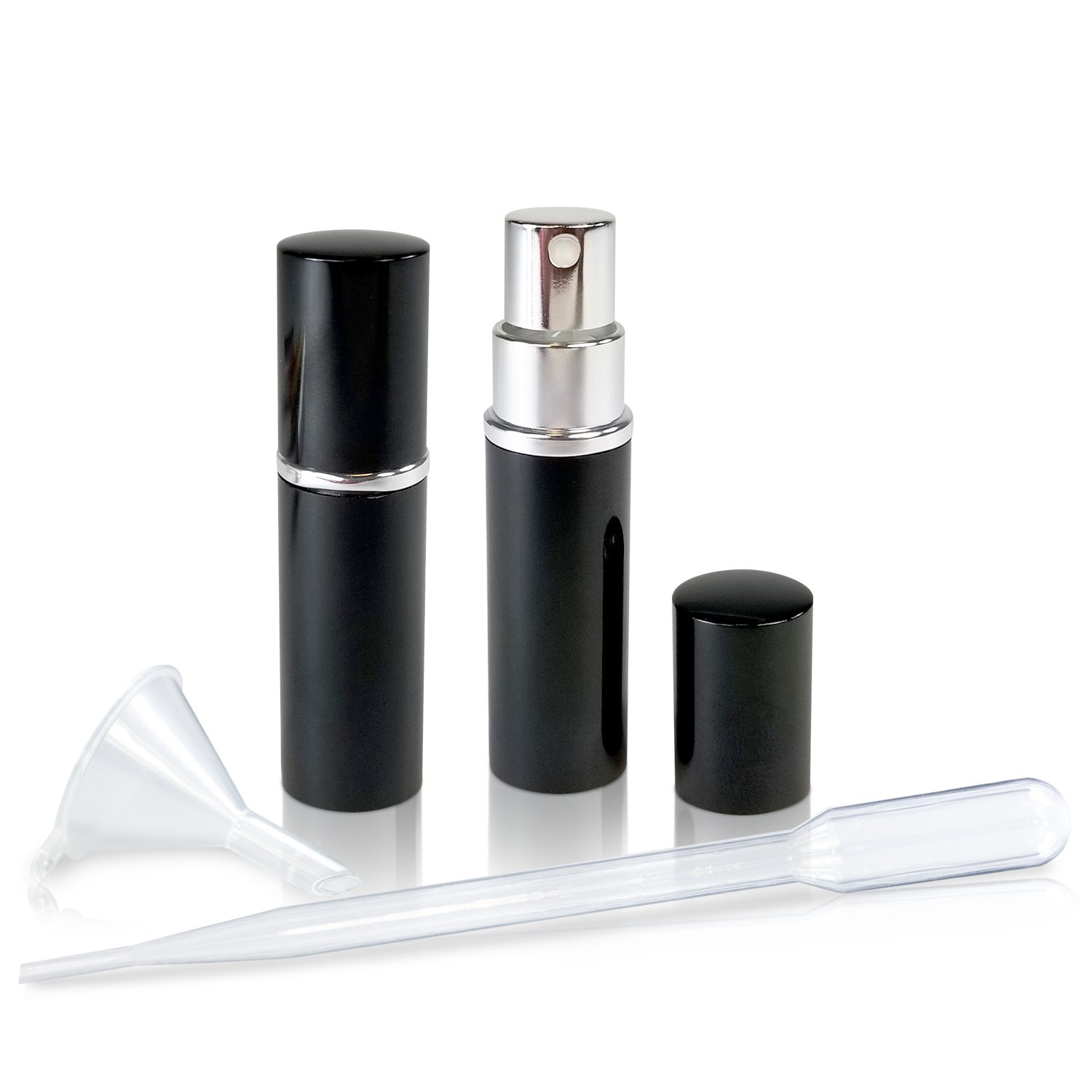 Refillable Perfume & Cologne Fine Mist Atomizers with Metallic Exterior & Glass Interior - 5ml Portable Travel Size - 3ml Squeeze Transfer Pipette Included (2 Pack, Black)