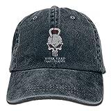 Wons Unisex Work Hard Train Harder Cotton Washed Denim Visor Hat Adjustable Navy