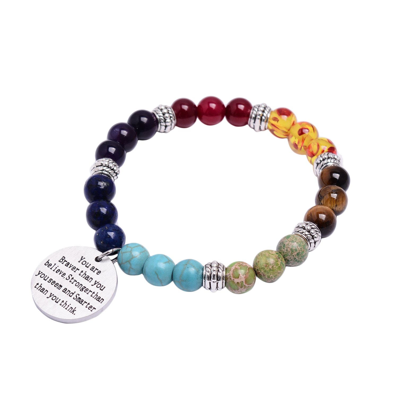 7 Chakra Natural Stone Bracelet Inspirational Bead Bracelet Healing Pray Mala Yoga Massage Charm Bracelet Viola Tricolor UK_B07BKY1QVQ