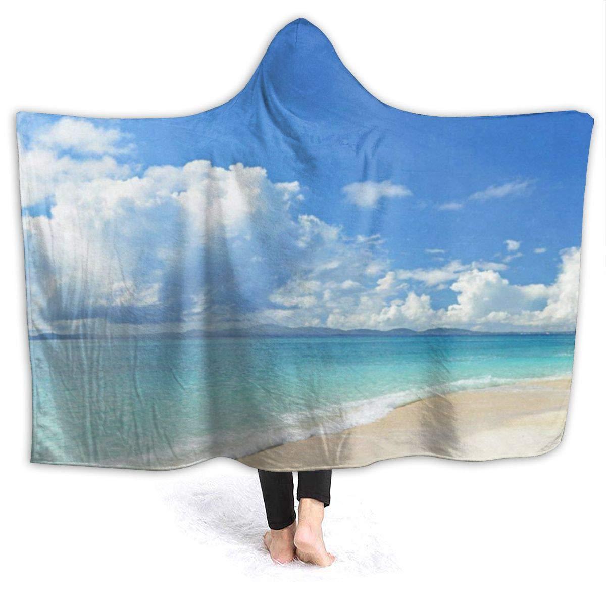 """OuLian Hooded Blanket Beach Seawave Sunshine Wearable Fleece Blankets Soft Warm for Kid Adults Women Men Throw Cuddle Poncho Cloak Cape 60"""" x 80"""""""