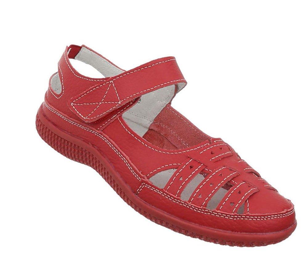 Damen Schuhe Sandalen Leder Klettverschluszlig;39 EU|Rot