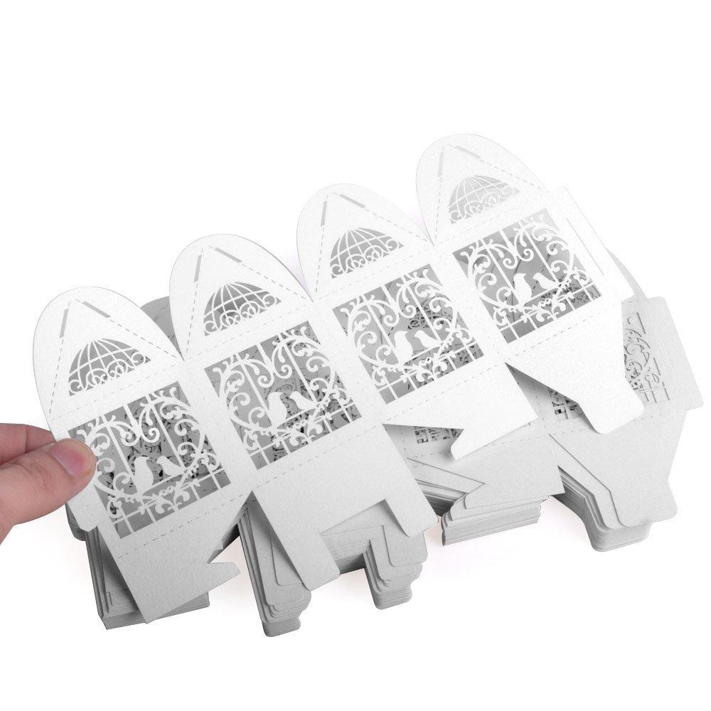 Romote 50pcs Laser Cut Uccello di nozze di amore di nozze caramelle regali contenitori di caramella di favore bo/Ãte Bomboniere con nastri da sposa doccia sera e favori di nozze di bianco