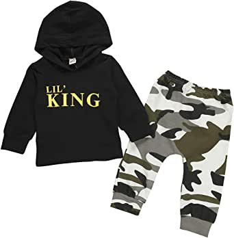 Toddler Kids Baby Boys Clothes Long Sleeve Lil' King Hoodie Top + Camouflage Pants Sweatsuit Fall Outfit Set
