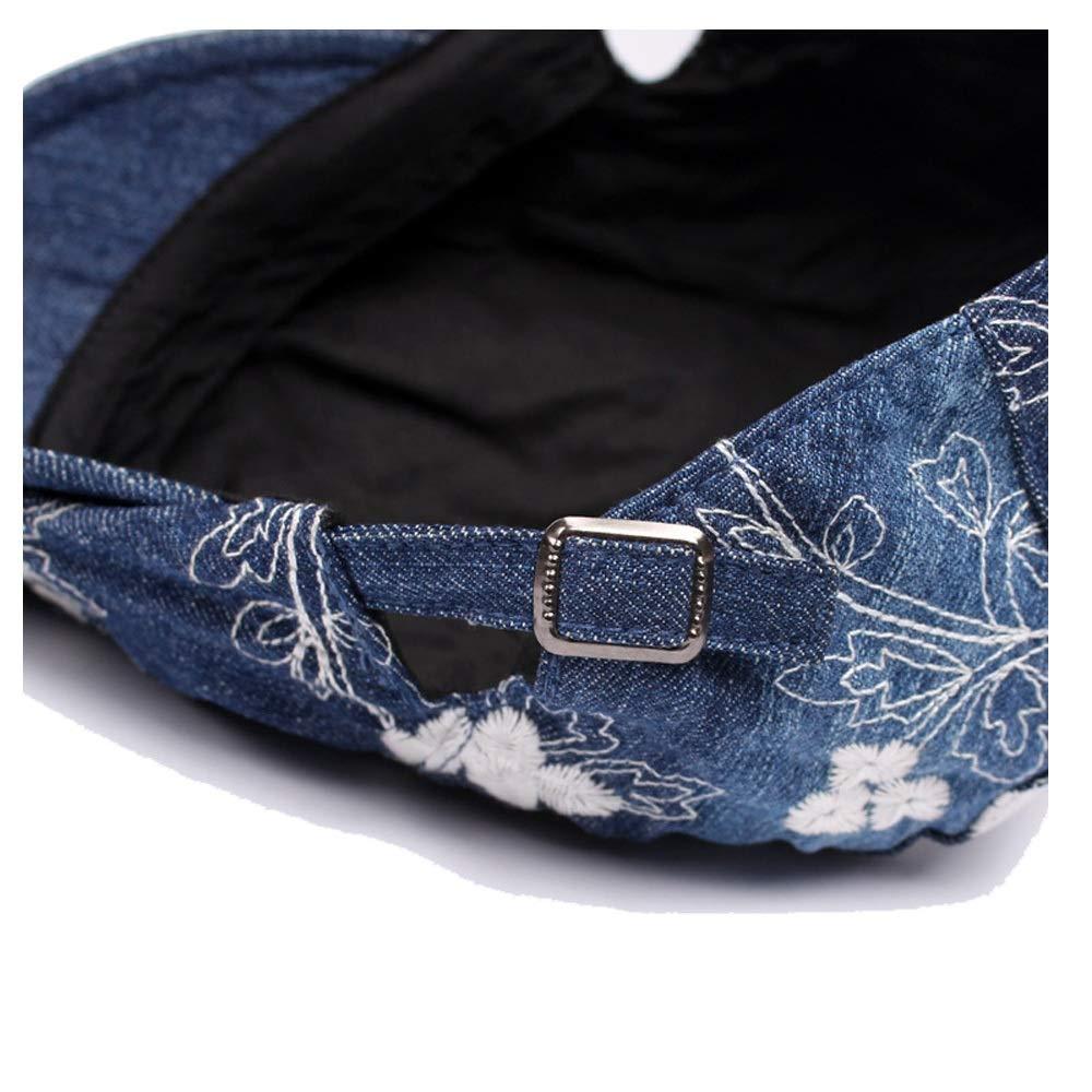 Yhuisen Retro Beret Hat Autumn and Winter Wool Ladies Washed Denim Flowers Cap Ladies Embroidery Forward Cap
