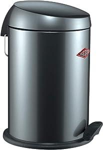 Wesco Capboy Base, Cosmetic Bin, Bathroom Trash Can, Pedal Bin, Dustbin, Graphite, Steel Sheet, 13 L, 121212-13