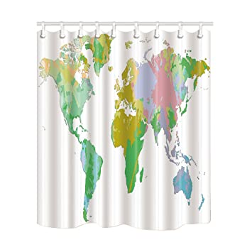 Amazon Com Nymb Map Decor Vector World Map Shower Curtains
