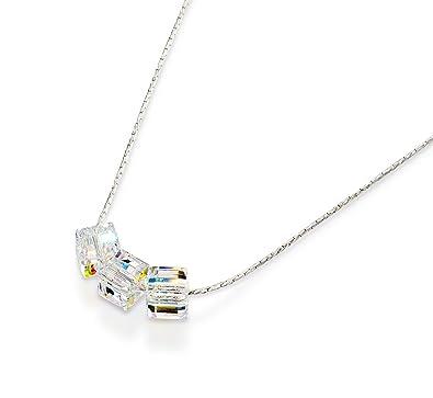 Dazzling Original Swarovski AB Cube Crystal Necklace in 925 Sterling  Silver 44a40dd07