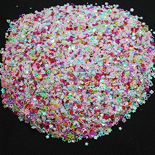super1798 Colorful Mixed Shapes Party Wedding Confetti DIY Glitter Nail Art Decoration Mix Color ()
