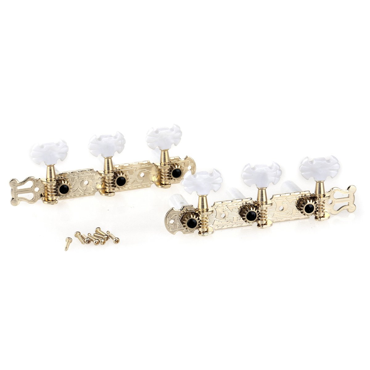 Musiclily Pro 3 on a Plate Lyra Style Classical Guitar String Machine Heads Tuning Pegs Keys Tuners Set, Butterfly Button Gold