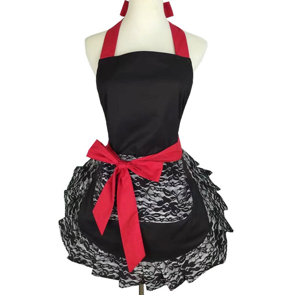 QEES Women's Apron Roses Skull Skirt Apron Retro Vintage Fashion Lovely Floral Garden Apron Adjustable Waistband Tie Perfect Gift (WQ20) (red)