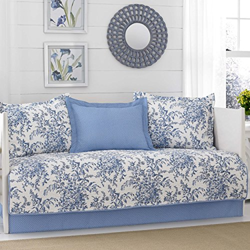- Laura Ashley Bedford 5-Piece Daybed Cover Set, Blue,